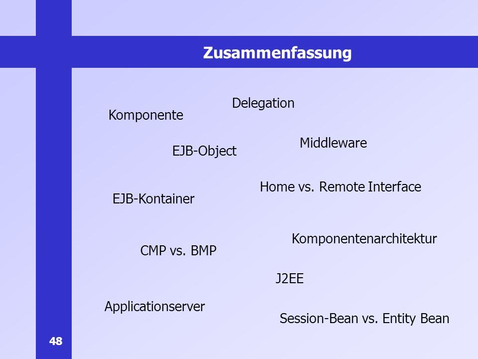 Zusammenfassung Delegation Komponente Middleware EJB-Object