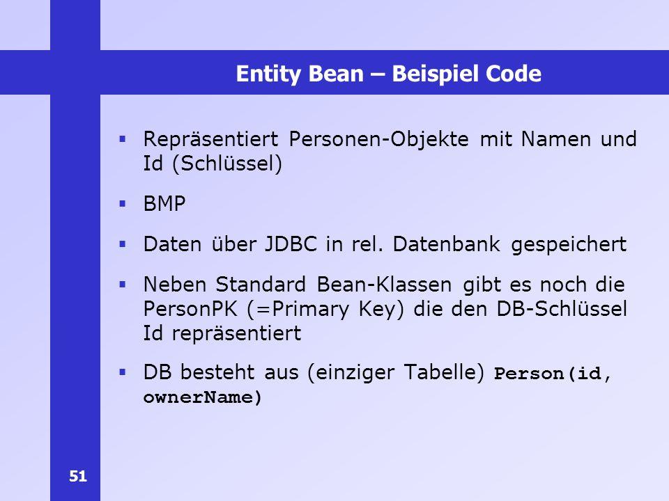 Entity Bean – Beispiel Code