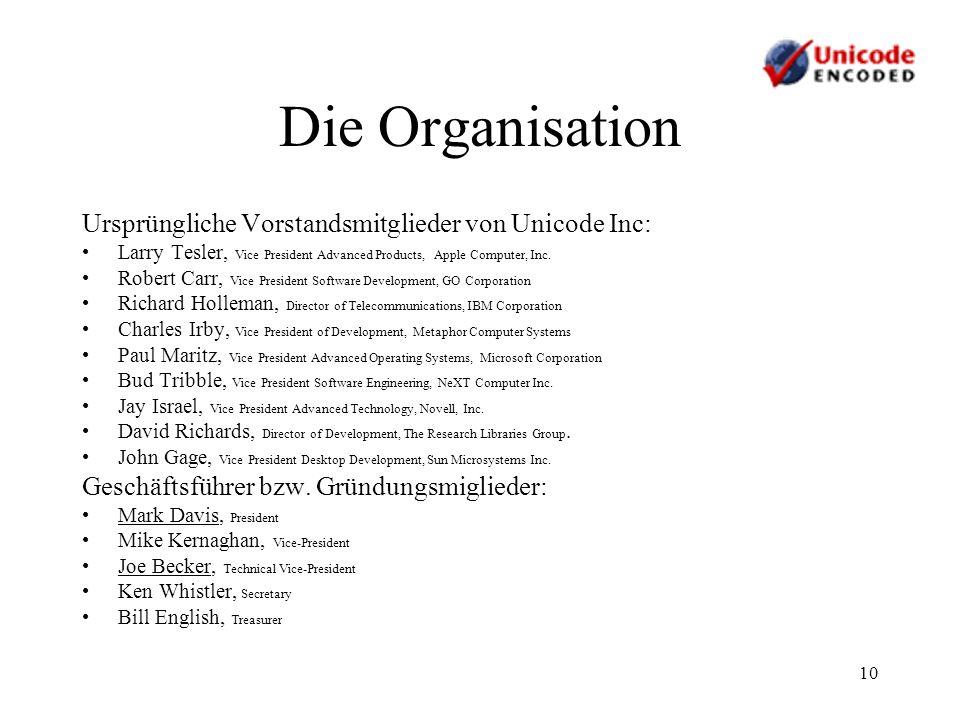 Die Organisation Ursprüngliche Vorstandsmitglieder von Unicode Inc: