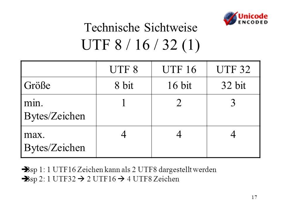 Technische Sichtweise UTF 8 / 16 / 32 (1)