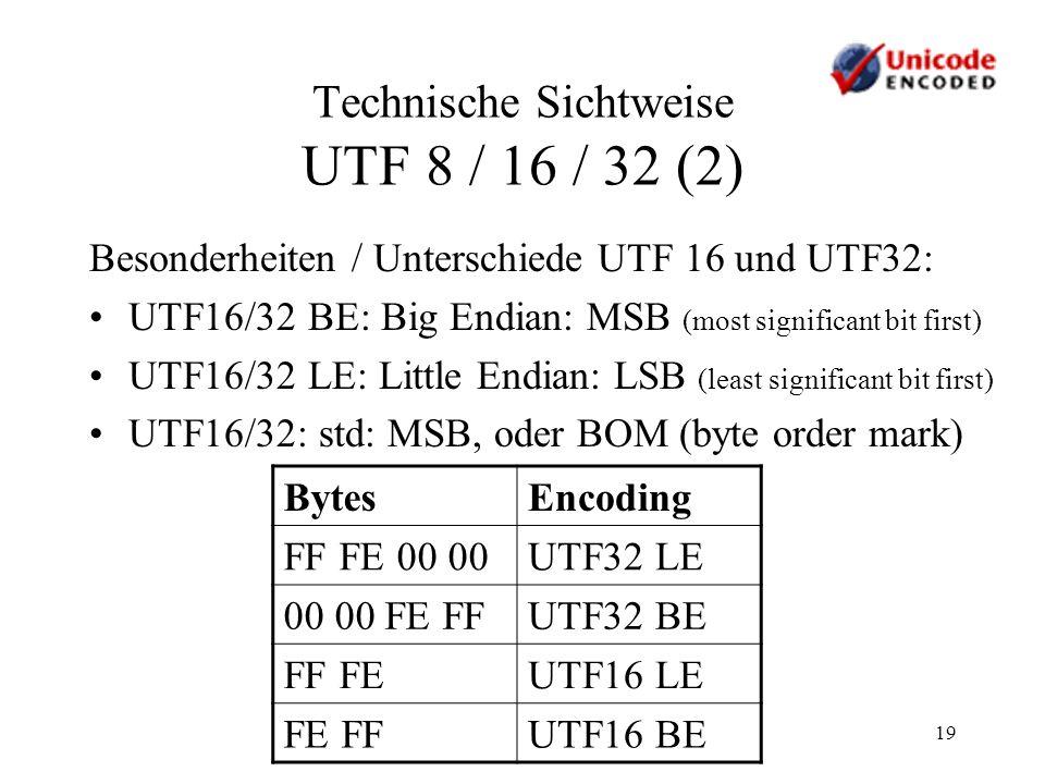 Technische Sichtweise UTF 8 / 16 / 32 (2)