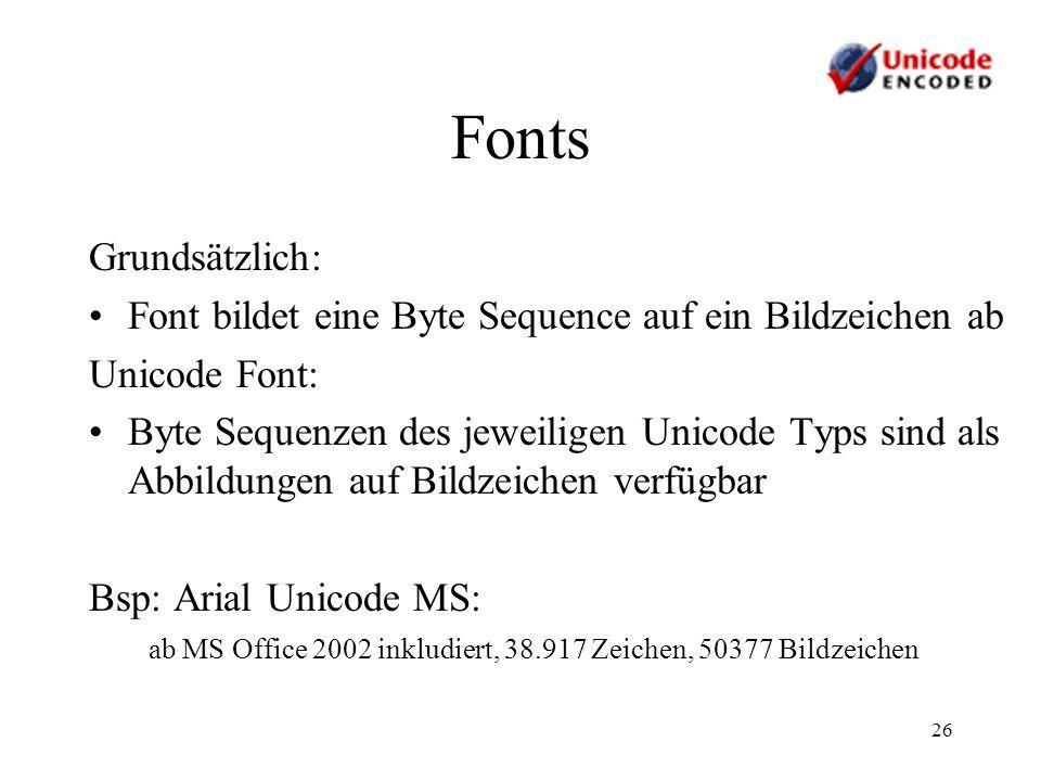 Fonts Grundsätzlich: Font bildet eine Byte Sequence auf ein Bildzeichen ab. Unicode Font: