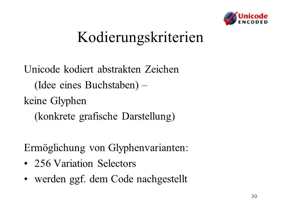 Kodierungskriterien Unicode kodiert abstrakten Zeichen