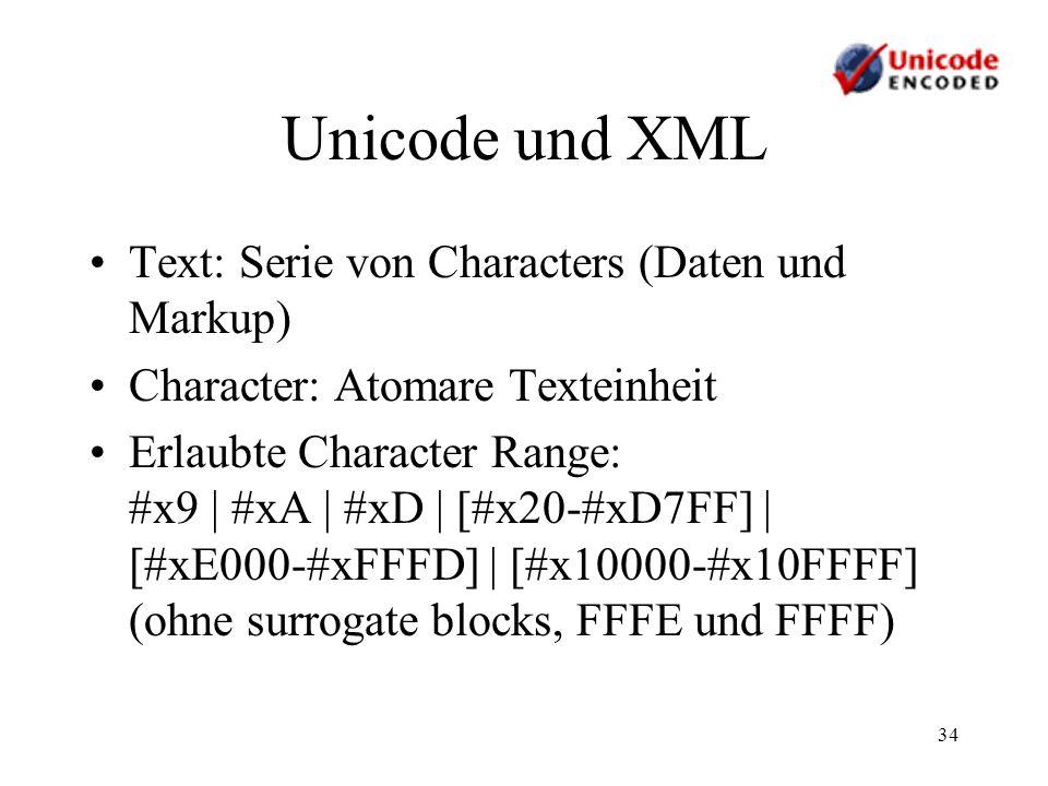 Unicode und XML Text: Serie von Characters (Daten und Markup)