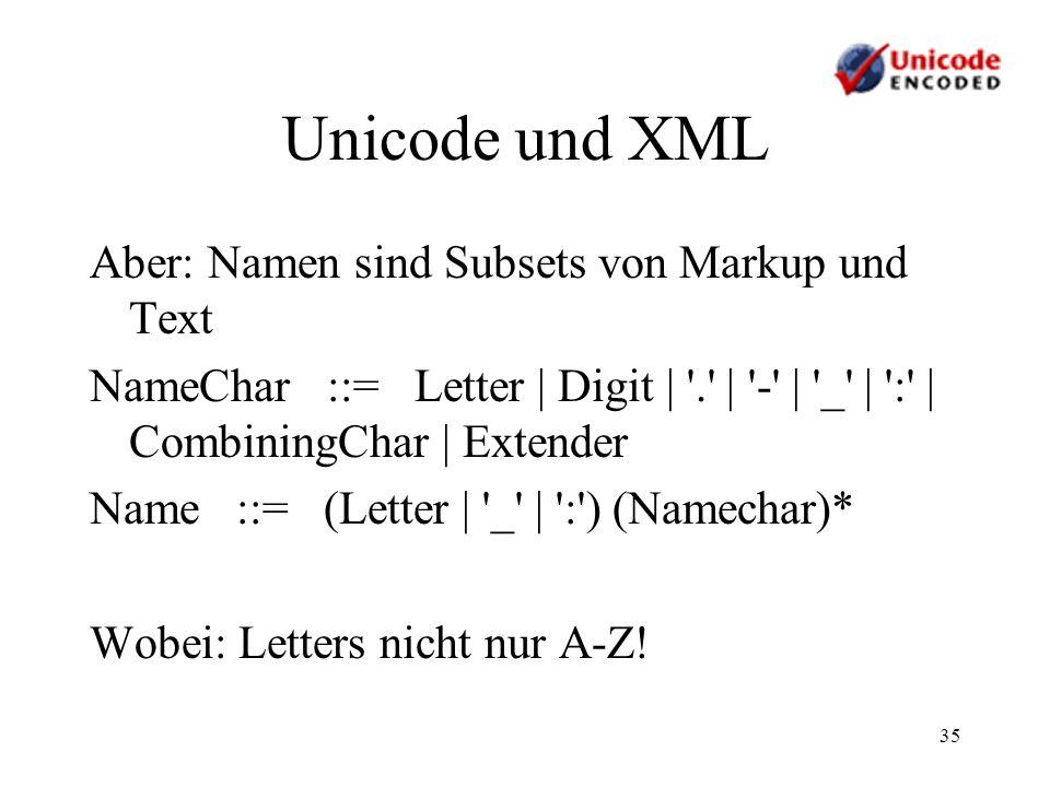 Unicode und XML Aber: Namen sind Subsets von Markup und Text