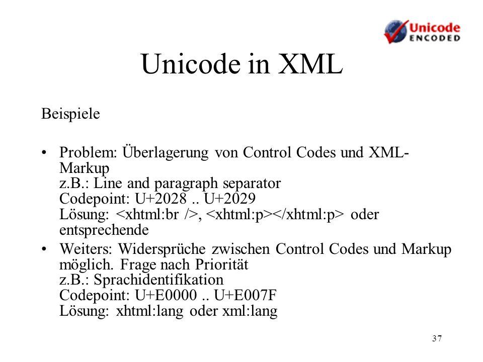 Unicode in XML Beispiele