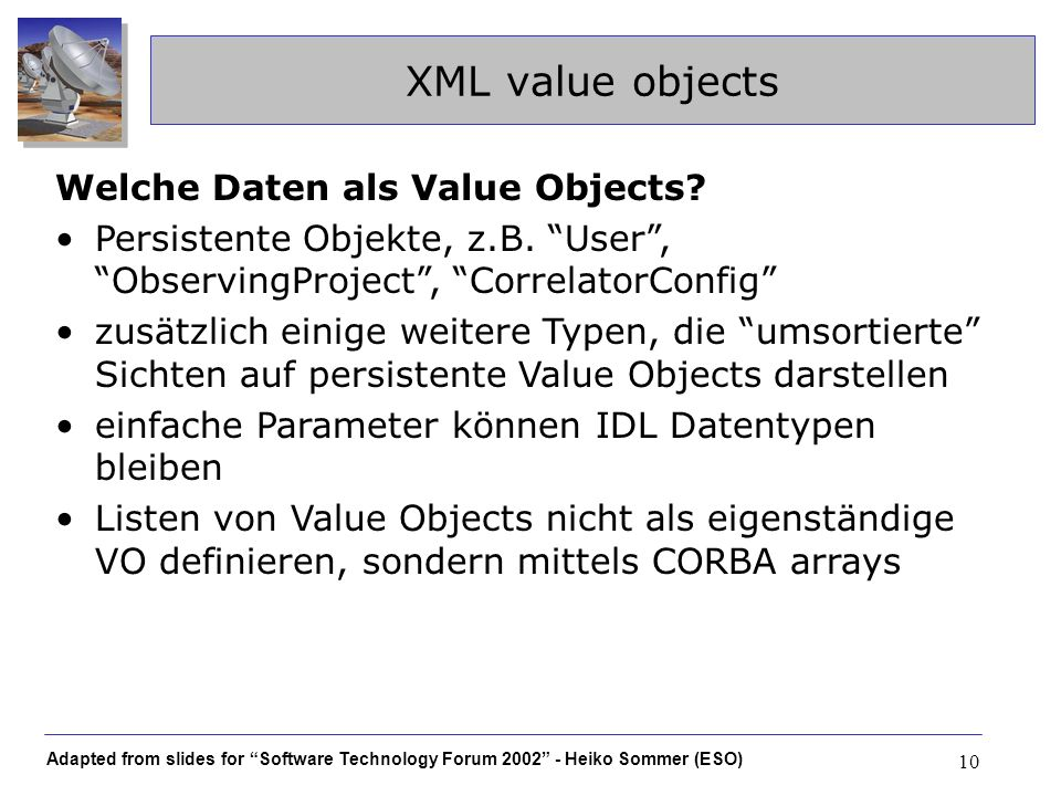 XML value objects Welche Daten als Value Objects