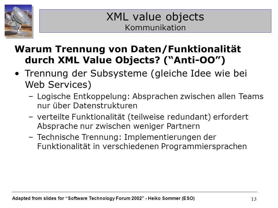 XML value objects Kommunikation