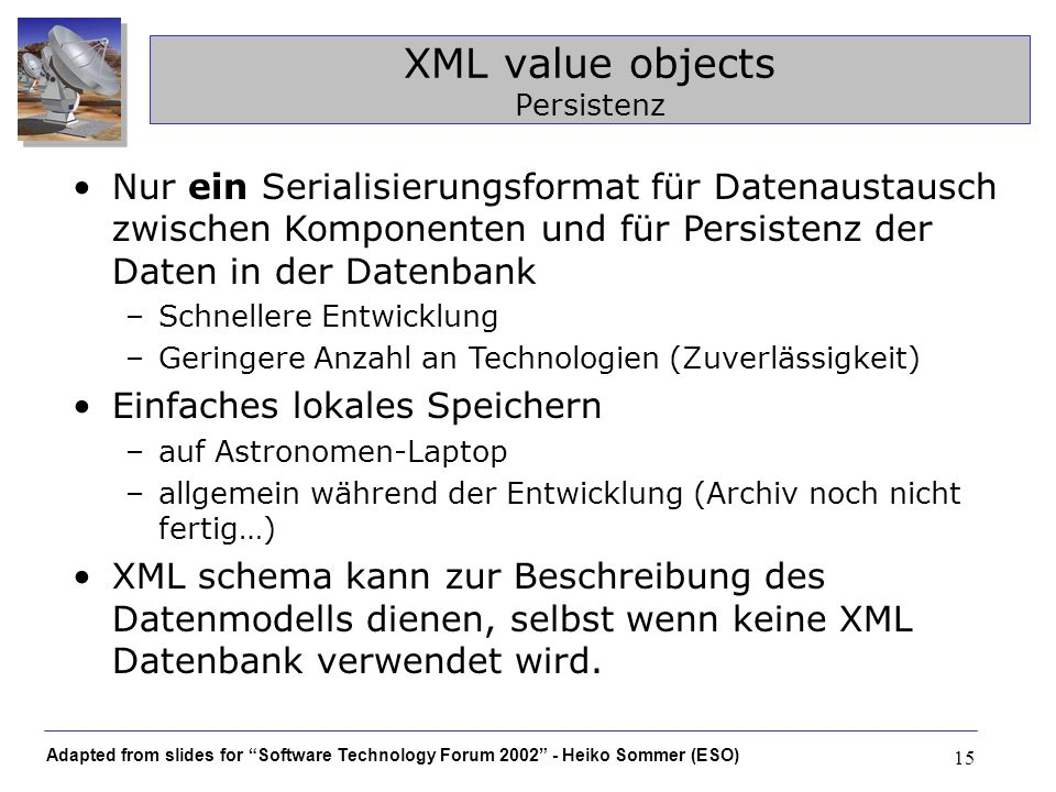 XML value objects Persistenz