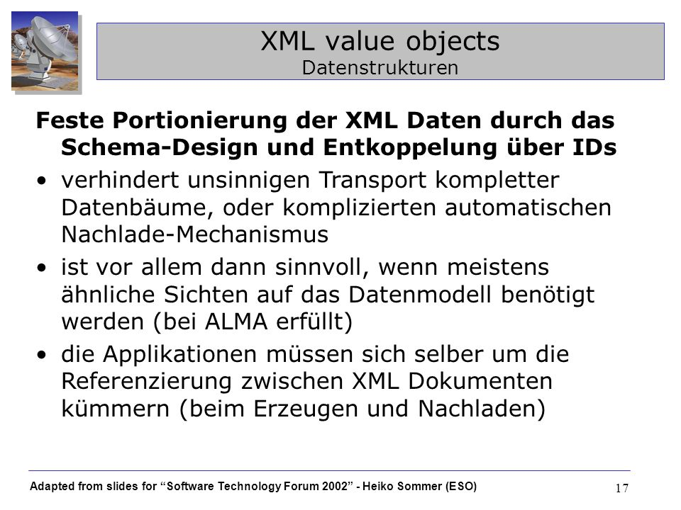 XML value objects Datenstrukturen