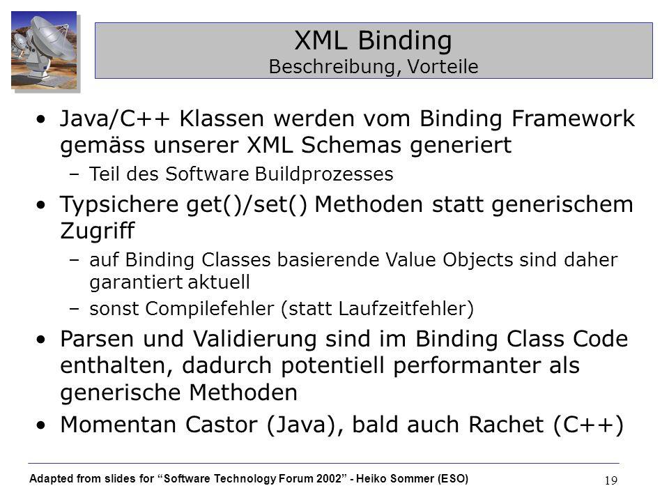 XML Binding Beschreibung, Vorteile