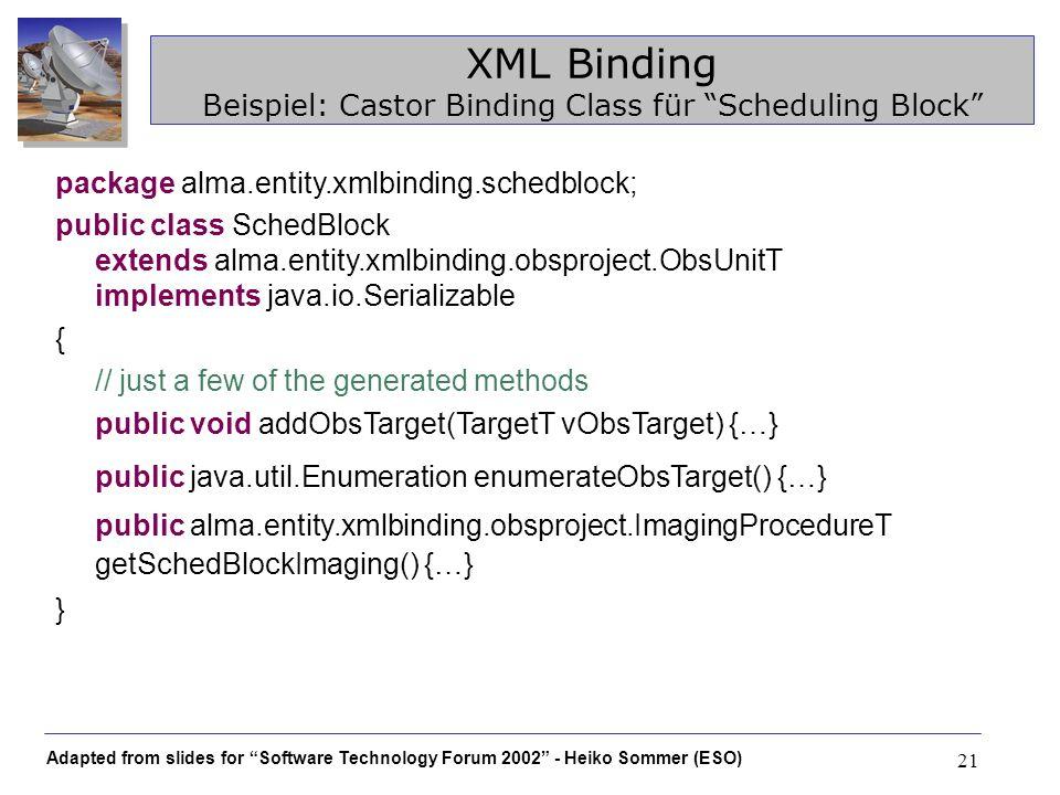 XML Binding Beispiel: Castor Binding Class für Scheduling Block