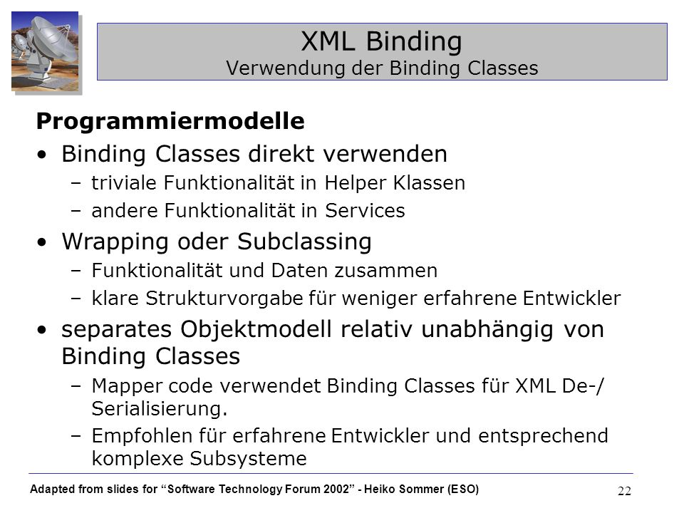 XML Binding Verwendung der Binding Classes