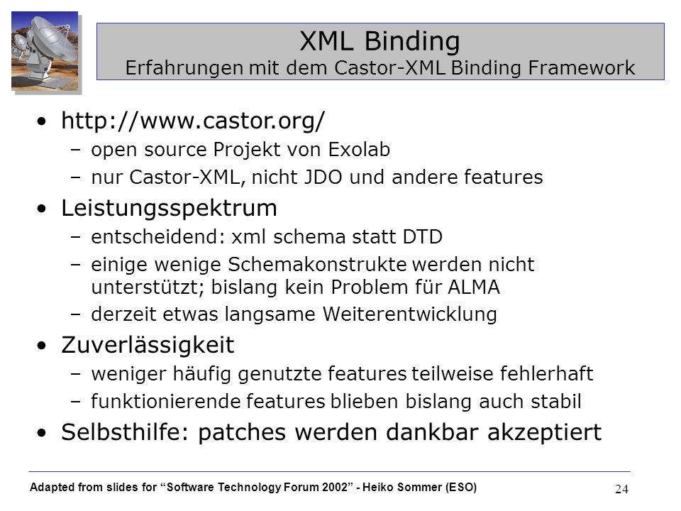XML Binding Erfahrungen mit dem Castor-XML Binding Framework