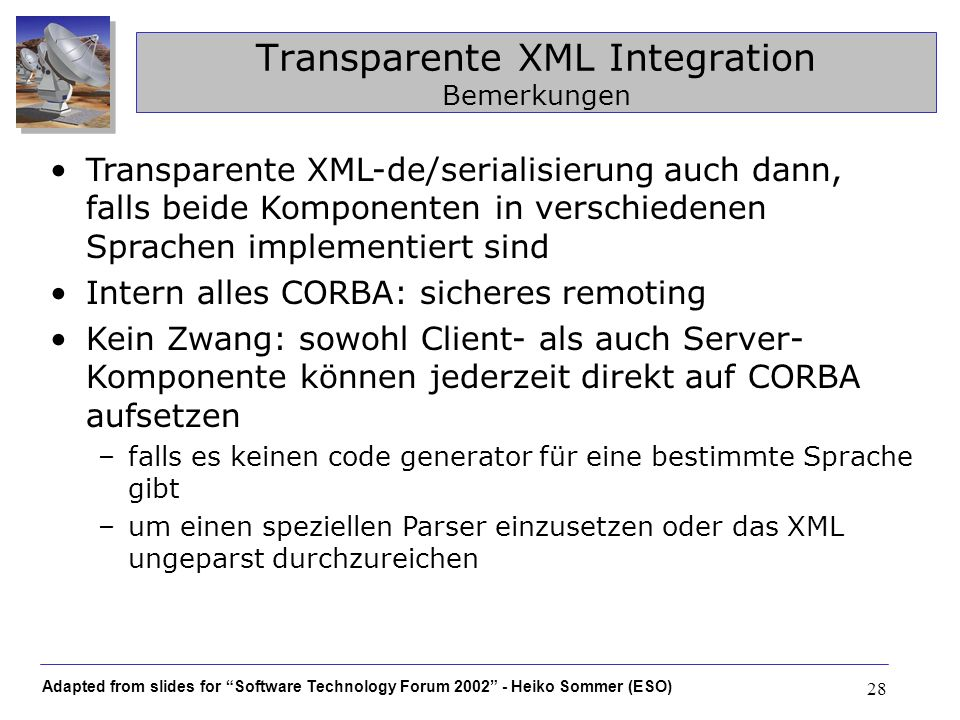 Transparente XML Integration Bemerkungen