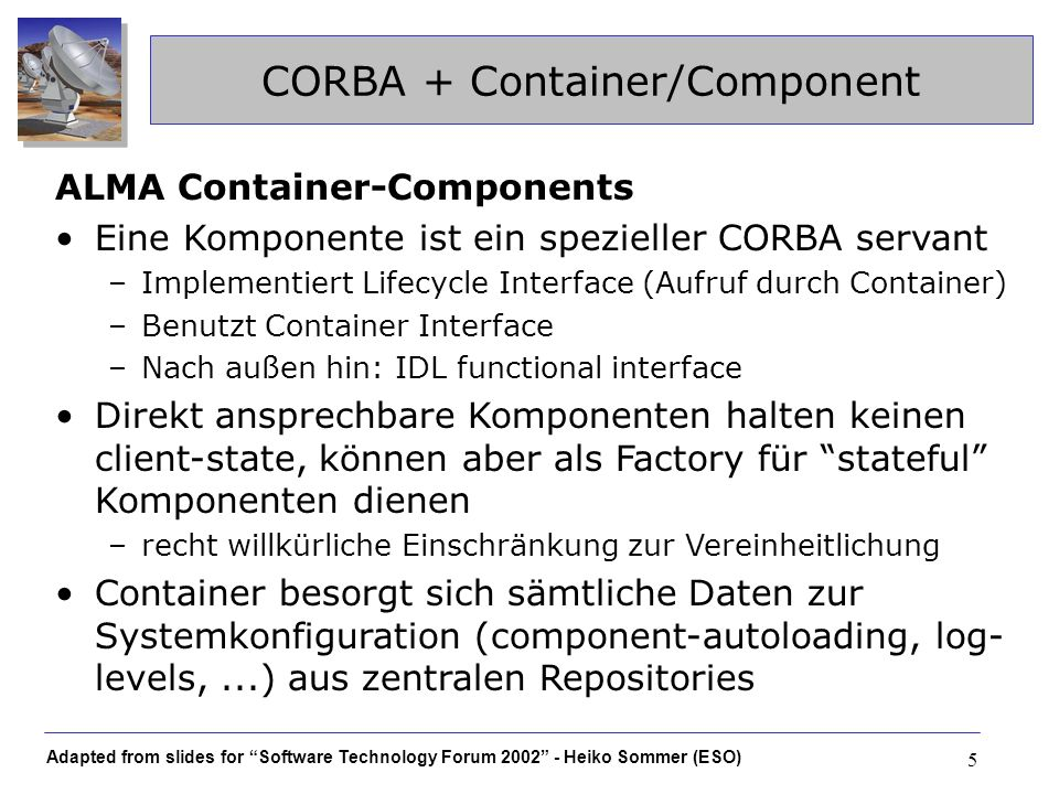 CORBA + Container/Component