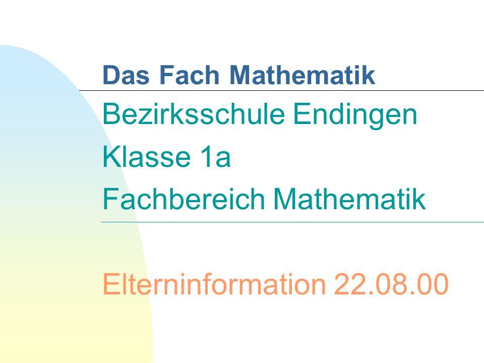 Bezirksschule Endingen Klasse 1a Fachbereich Mathematik