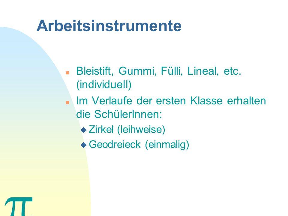Arbeitsinstrumente Bleistift, Gummi, Fülli, Lineal, etc. (individuell)