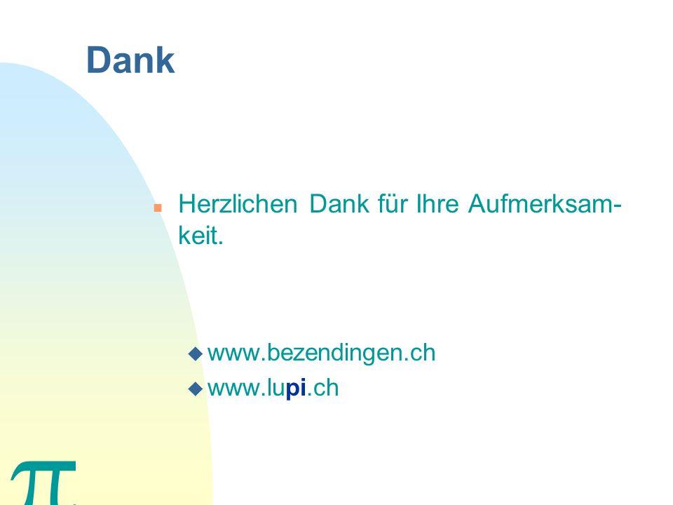 Dank Herzlichen Dank für Ihre Aufmerksam-keit. www.bezendingen.ch