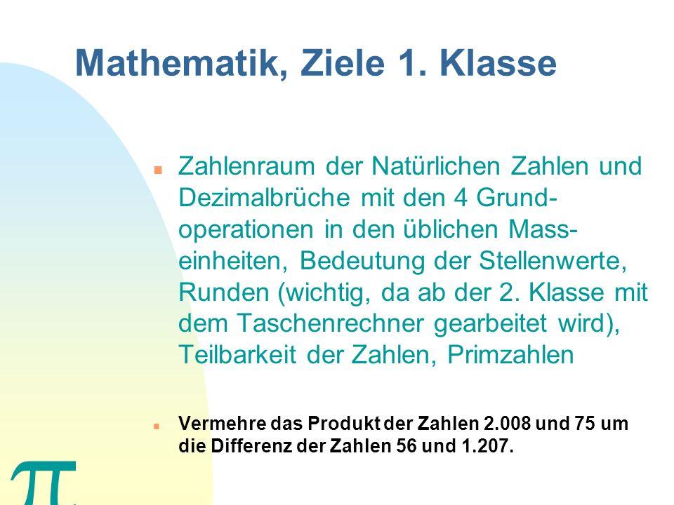 Mathematik, Ziele 1. Klasse