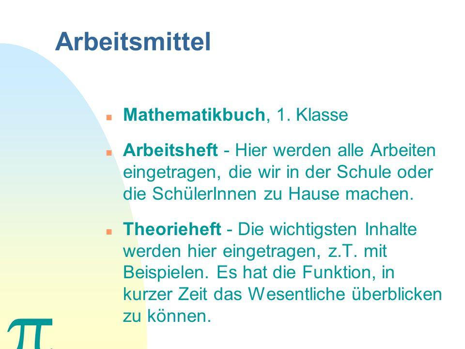 Arbeitsmittel Mathematikbuch, 1. Klasse