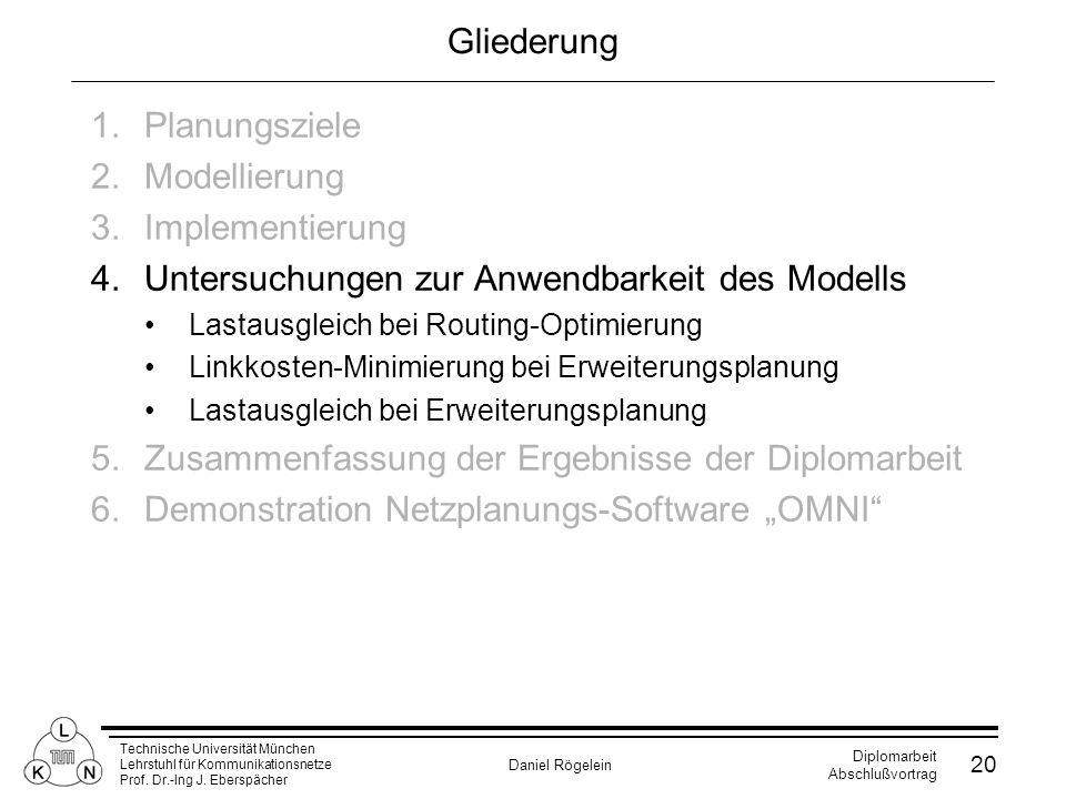 Untersuchungen zur Anwendbarkeit des Modells