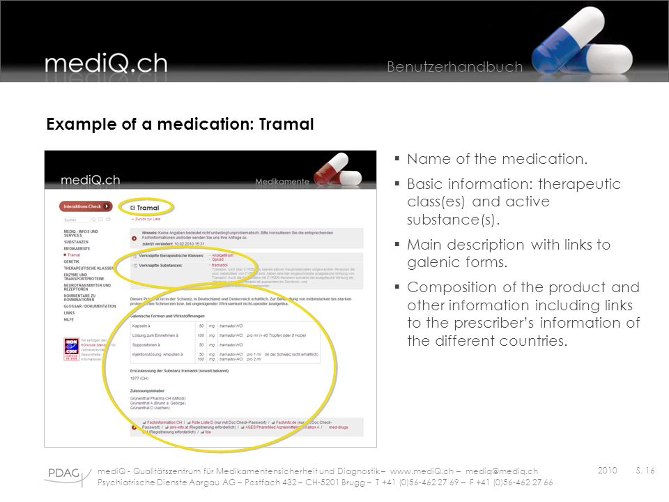 Example of a medication: Tramal