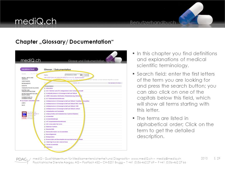 "Chapter ""Glossary/ Documentation"