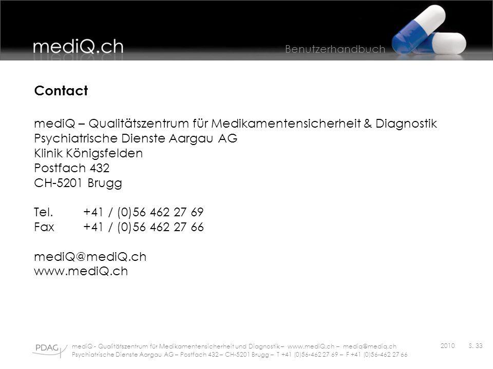 Contact mediQ – Qualitätszentrum für Medikamentensicherheit & Diagnostik. Psychiatrische Dienste Aargau AG.