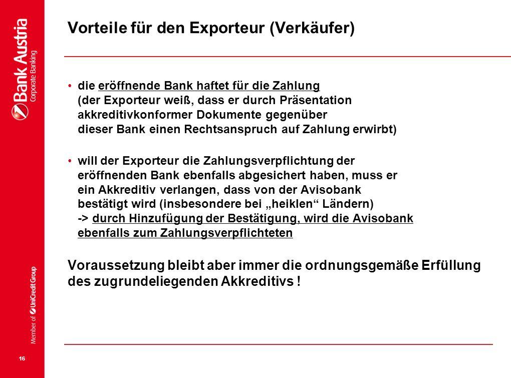 Vorteile für den Exporteur (Verkäufer)