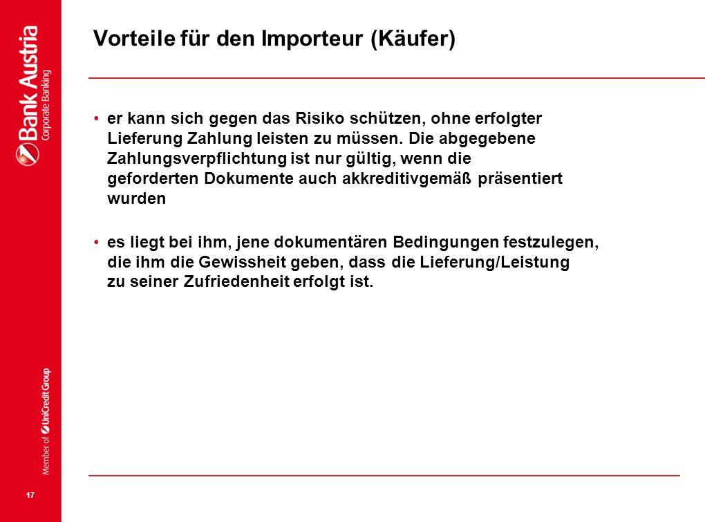 Vorteile für den Importeur (Käufer)