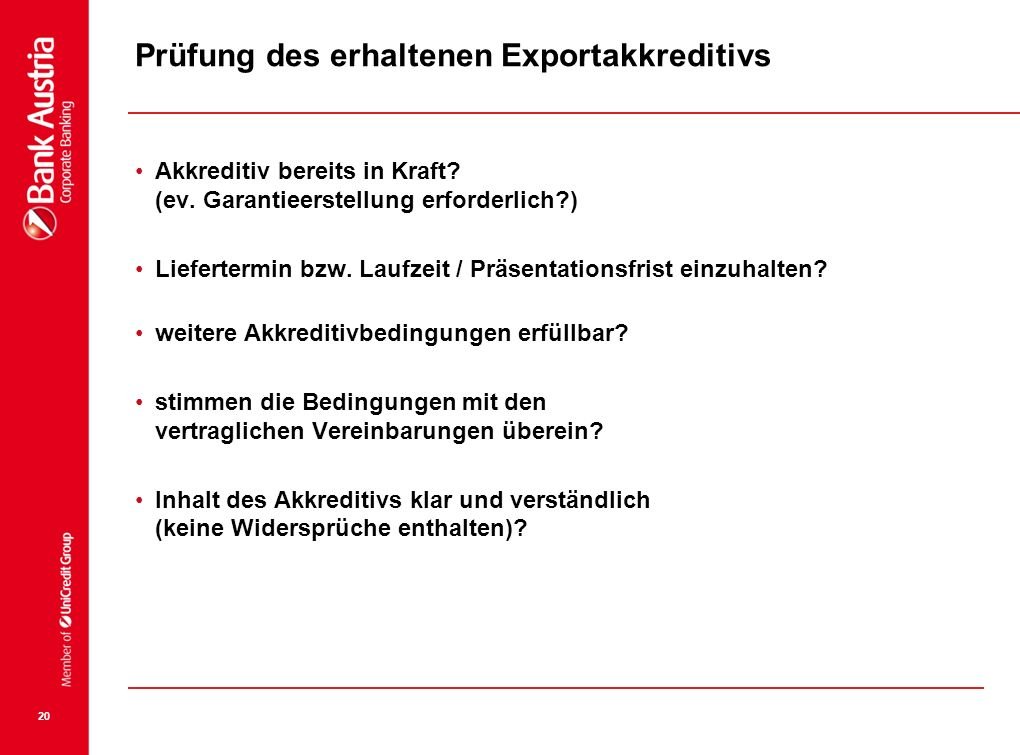 Prüfung des erhaltenen Exportakkreditivs