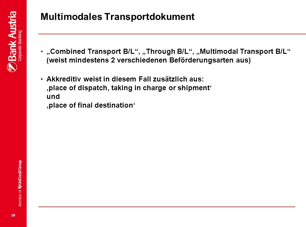 Multimodales Transportdokument