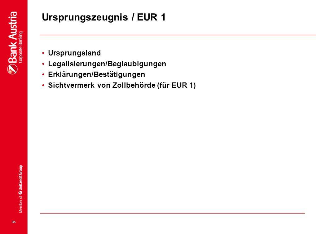 Ursprungszeugnis / EUR 1