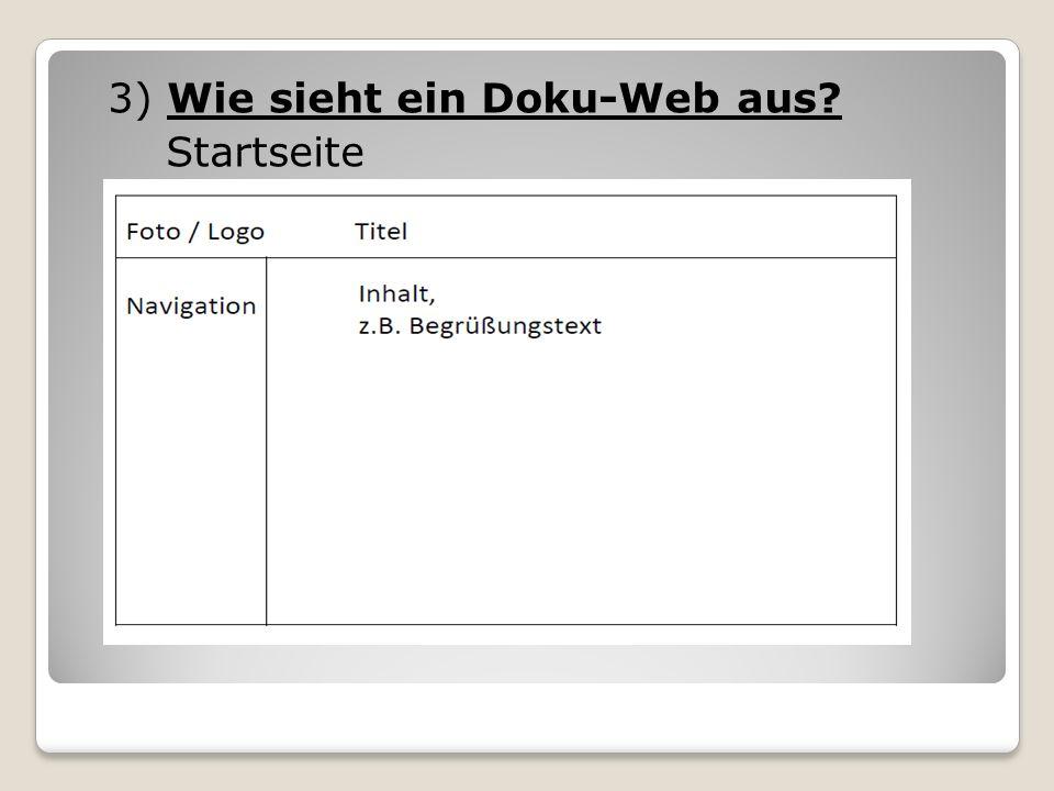 3) Wie sieht ein Doku-Web aus Startseite