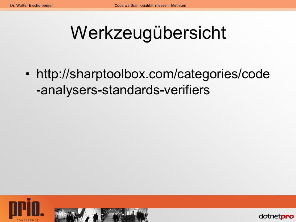 Werkzeugübersicht http://sharptoolbox.com/categories/code-analysers-standards-verifiers