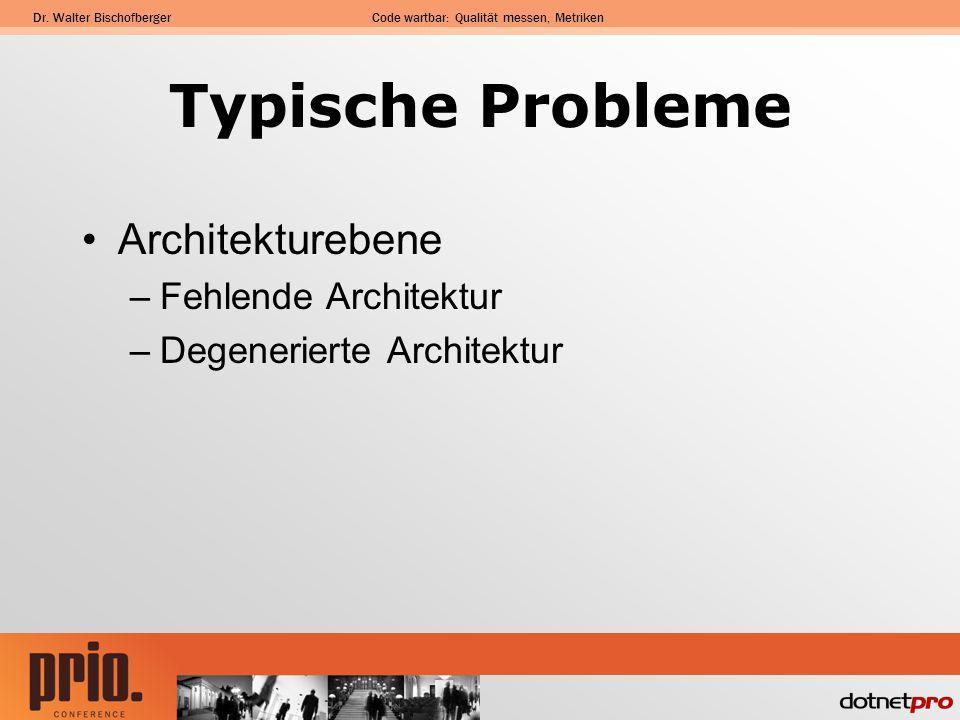 Typische Probleme Architekturebene Fehlende Architektur
