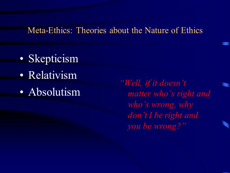 Meta-Ethics: Theories about the Nature of Ethics