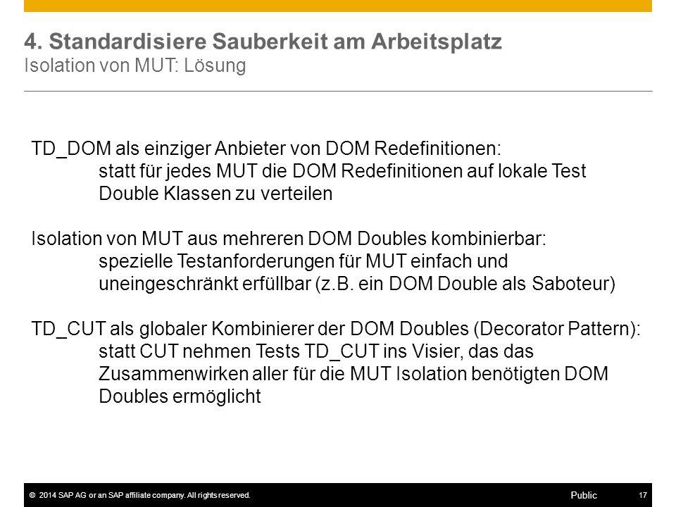 4. Standardisiere Sauberkeit am Arbeitsplatz Isolation von MUT: Lösung