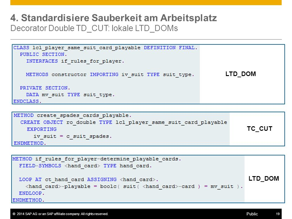 4. Standardisiere Sauberkeit am Arbeitsplatz Decorator Double TD_CUT: lokale LTD_DOMs
