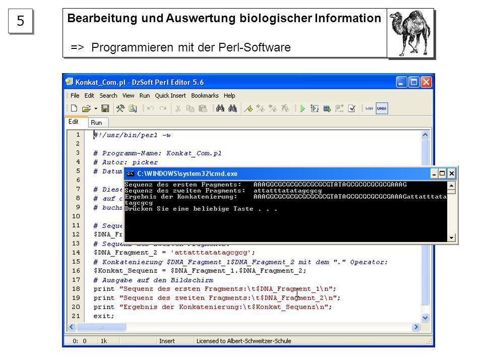 5 Bearbeitung und Auswertung biologischer Information