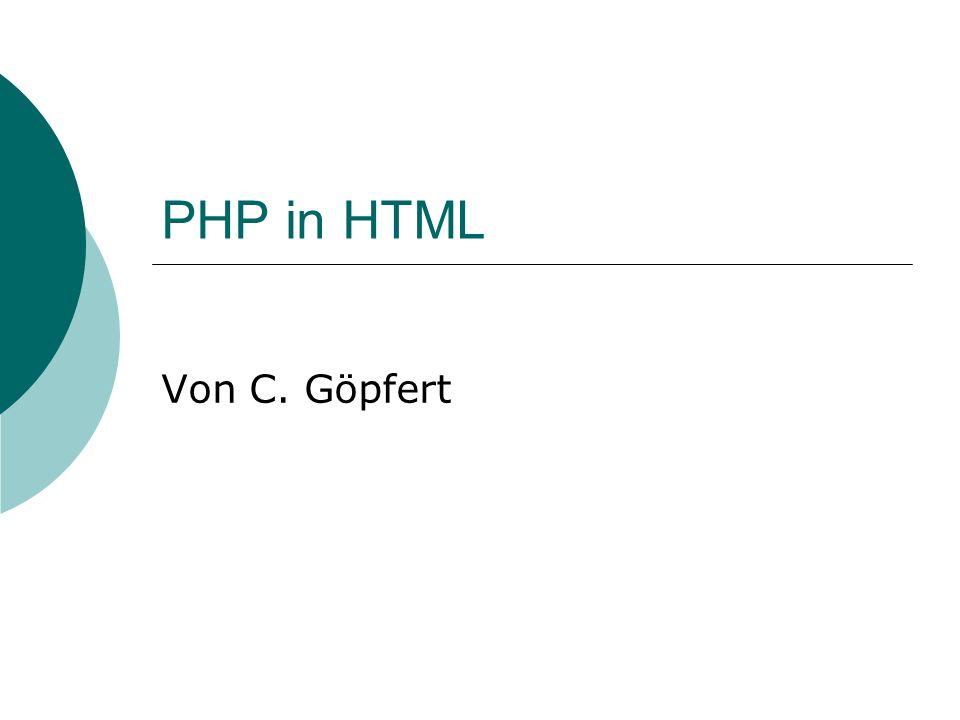 PHP in HTML Von C. Göpfert
