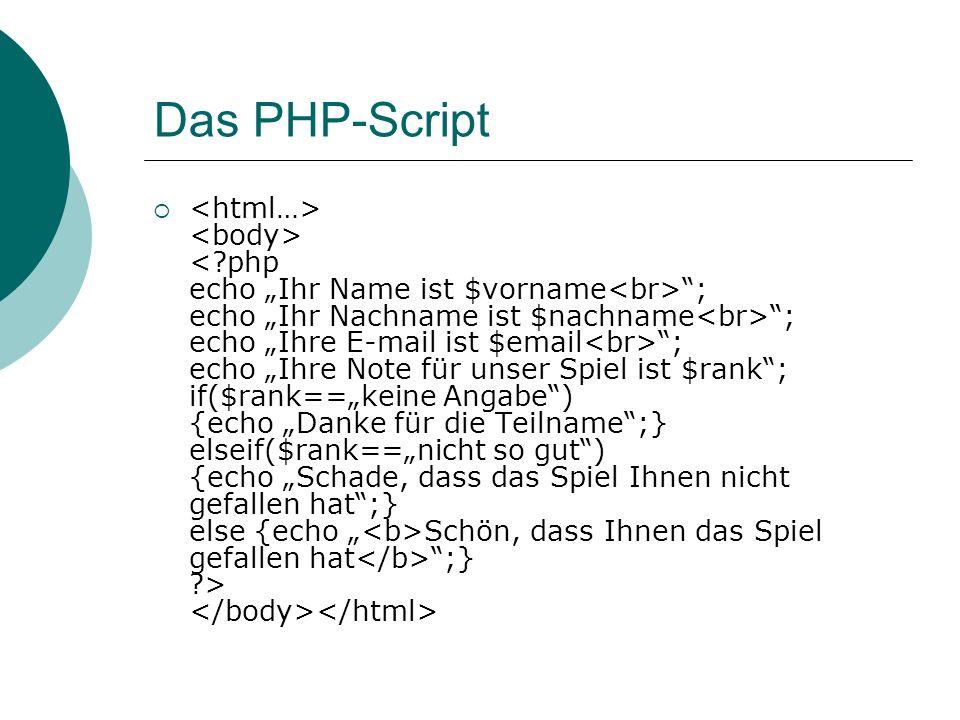 Das PHP-Script