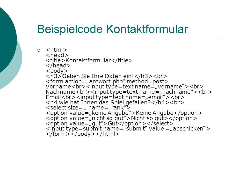 Beispielcode Kontaktformular