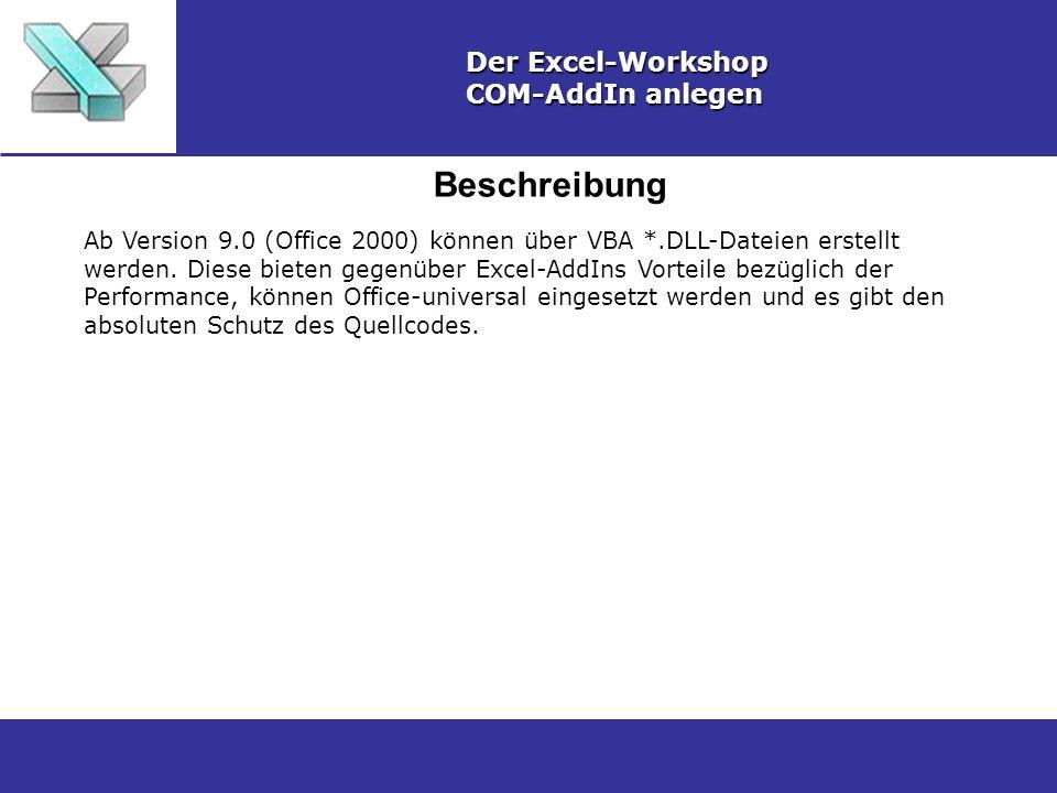 Beschreibung Der Excel-Workshop COM-AddIn anlegen