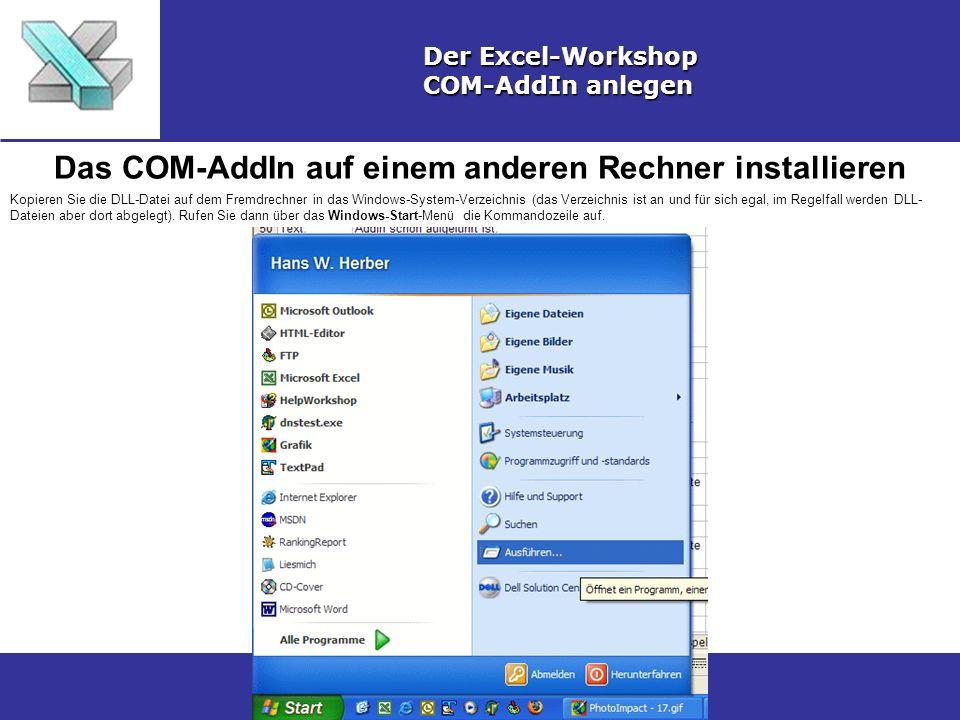 Das COM-AddIn auf einem anderen Rechner installieren