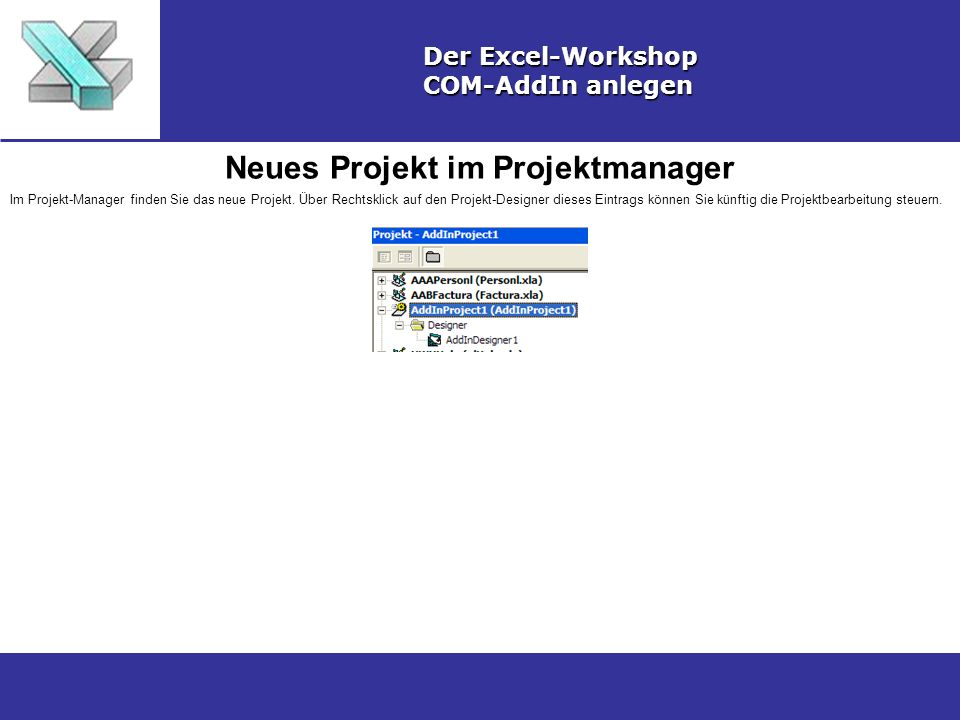 Neues Projekt im Projektmanager