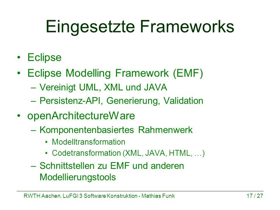 Eingesetzte Frameworks