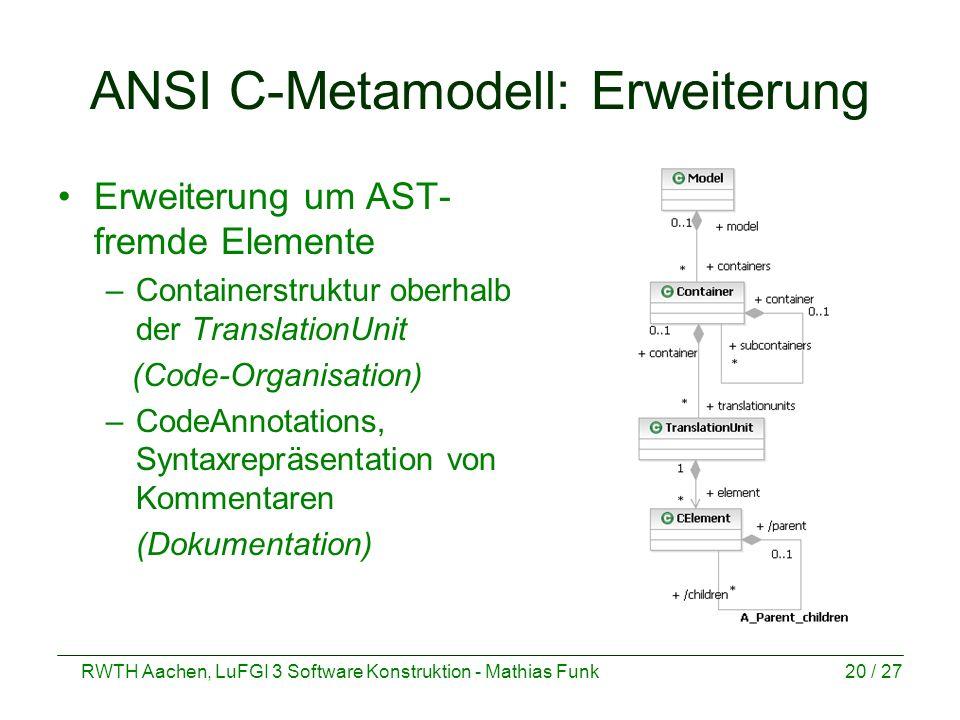 ANSI C-Metamodell: Erweiterung