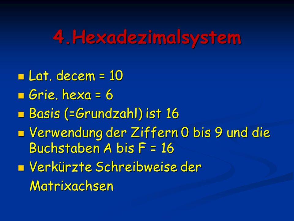 4.Hexadezimalsystem Lat. decem = 10 Grie. hexa = 6